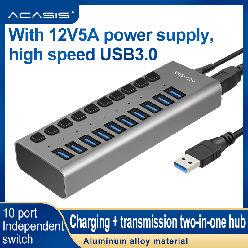 AcasisUSB HUB 3.0 Super Speed 5Gbps 10 Ports Portable USB 3.0 HUB Splitter With External Power Adapter PC For Accessories
