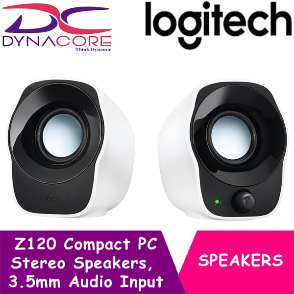 DYNACORE - Logitech Z120 Compact PC Stereo Speakers, 3.5mm Audio Input, USB Powered, Integrated Controls, Cable Management Solution, EU Plug, Computer/Smartphone/Tablet/Music Player - White