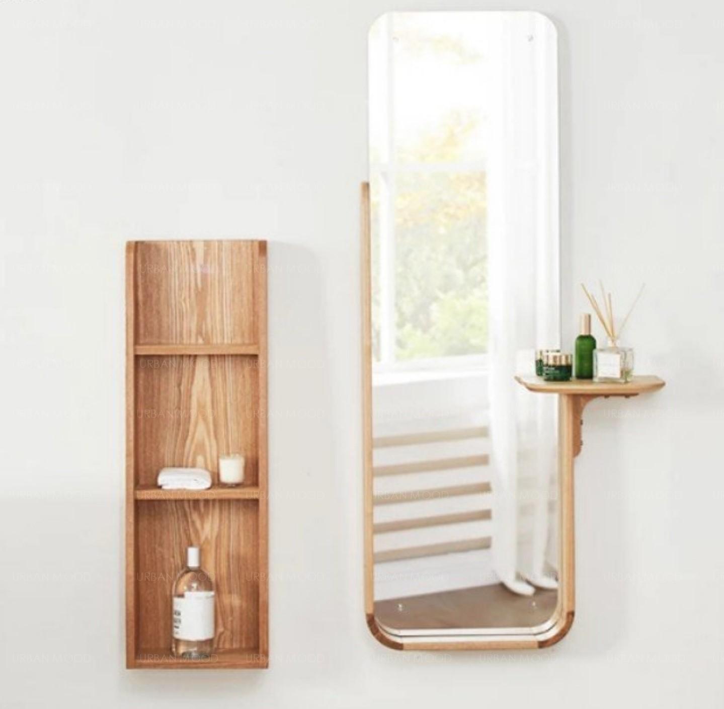 IMOGEN Minimalist Solid Oak Wall Mirror Shelf