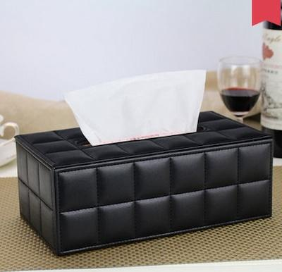 Black Desktop Leather Tissue Box Organizer x 2 sets