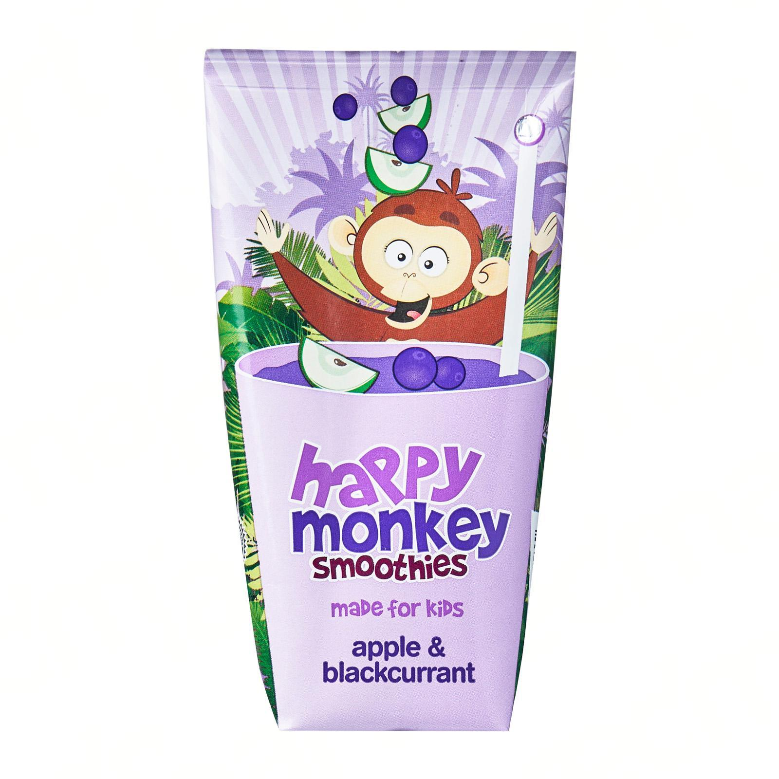 HAPPY MONKEY 100-Percent Fruit Smoothies - Made for Kids - Apple Blackcurrant