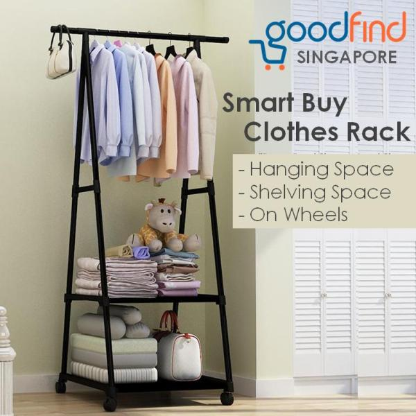 Triangle Clothes Rack Space Saving Rack For Clothes, Shoes And Bags Movable Rack On Wheels With Shelving Space - GoodFind