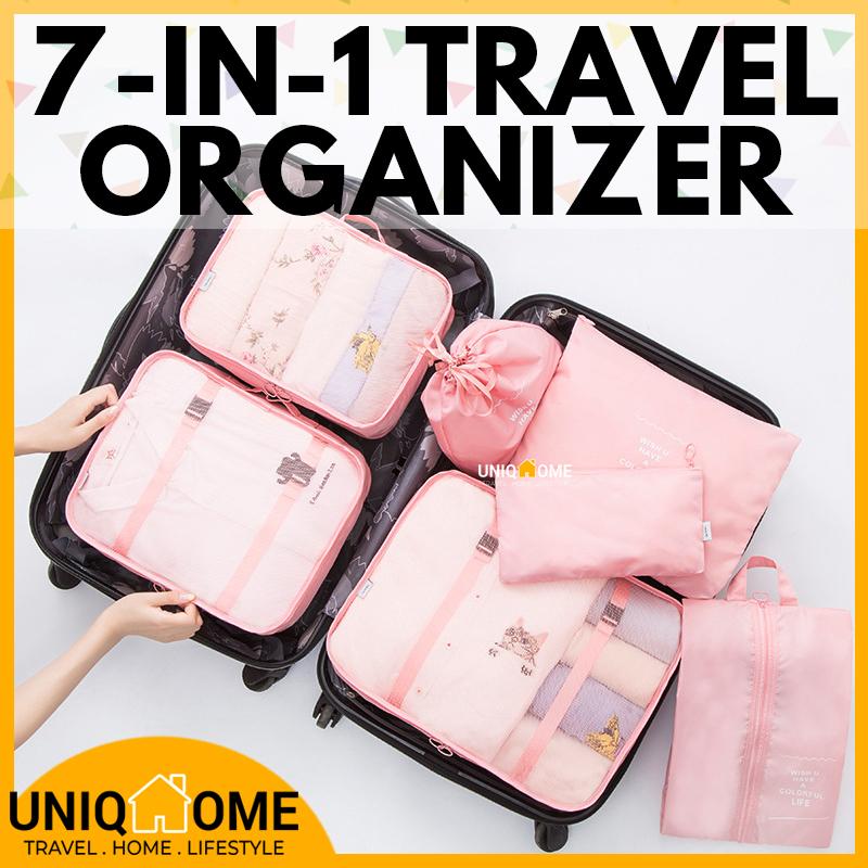UniqHome Travel Organizer 7 Pieces Foldable Washable Luggage Set Organizer Luggage Organizer  Travel bag Luggage Organiser Foldable bag Packing Bag Travel Organiser