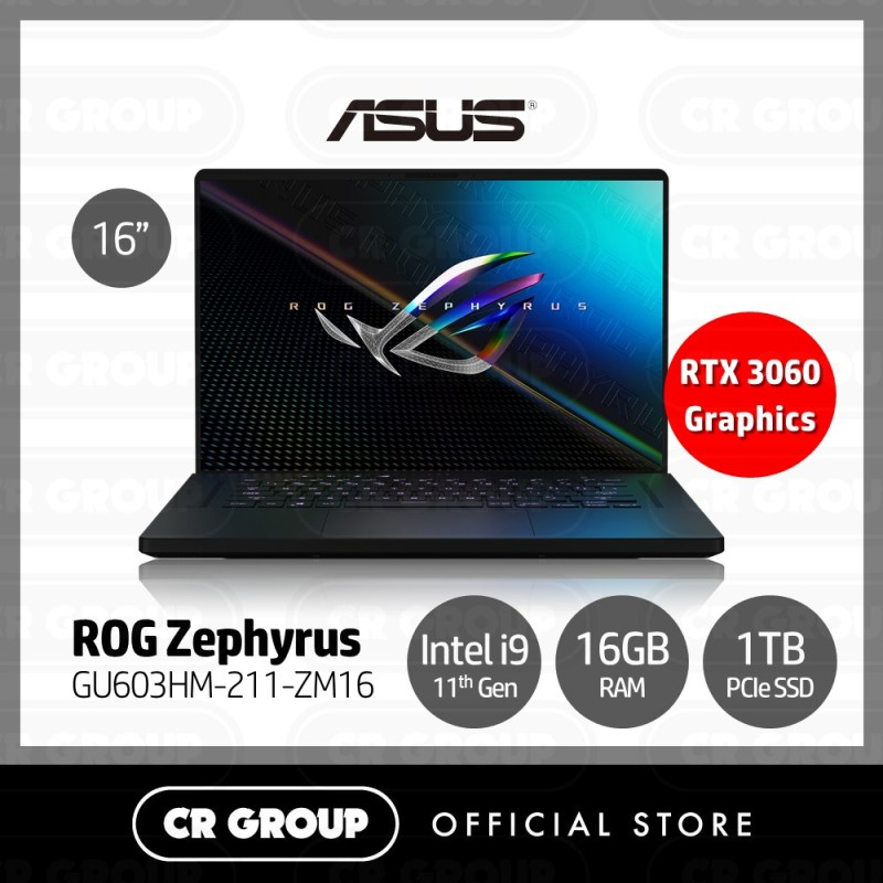[Same Day Delivery] Asus ROG Zephyrus M16 i9 165Hz Refresh Rate 16 WQXGA Gaming Laptop GU603HM-211-ZM16   11th Gen i9-11900H    16GB RAM   1TB NVMe SSD   NIVIDIA GeForce RTX 3060