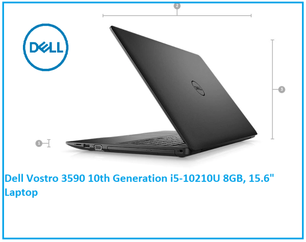 2 YRS WARRANTY Dell Vostro 3590 10th Generation i5-10210U 8GB (2x4GB) 2666MHz DDR4 Non-ECC, 256GB SSD Windows 10 Home, 15.6 inch Full HD Anti-Glare LED-Backlit Display Black - LCD Back Cover free bag and mouse