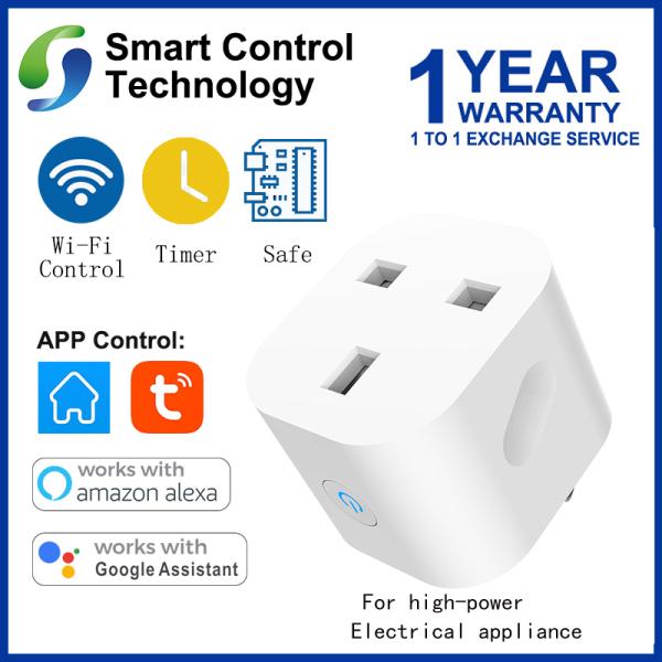 [Singapore Seller] WiFi Smart Socket 13A UK Smart Plug Mini WiFi Socket Remote Voice Control Google Home/Alexa Tuya For high-power electrical appliance