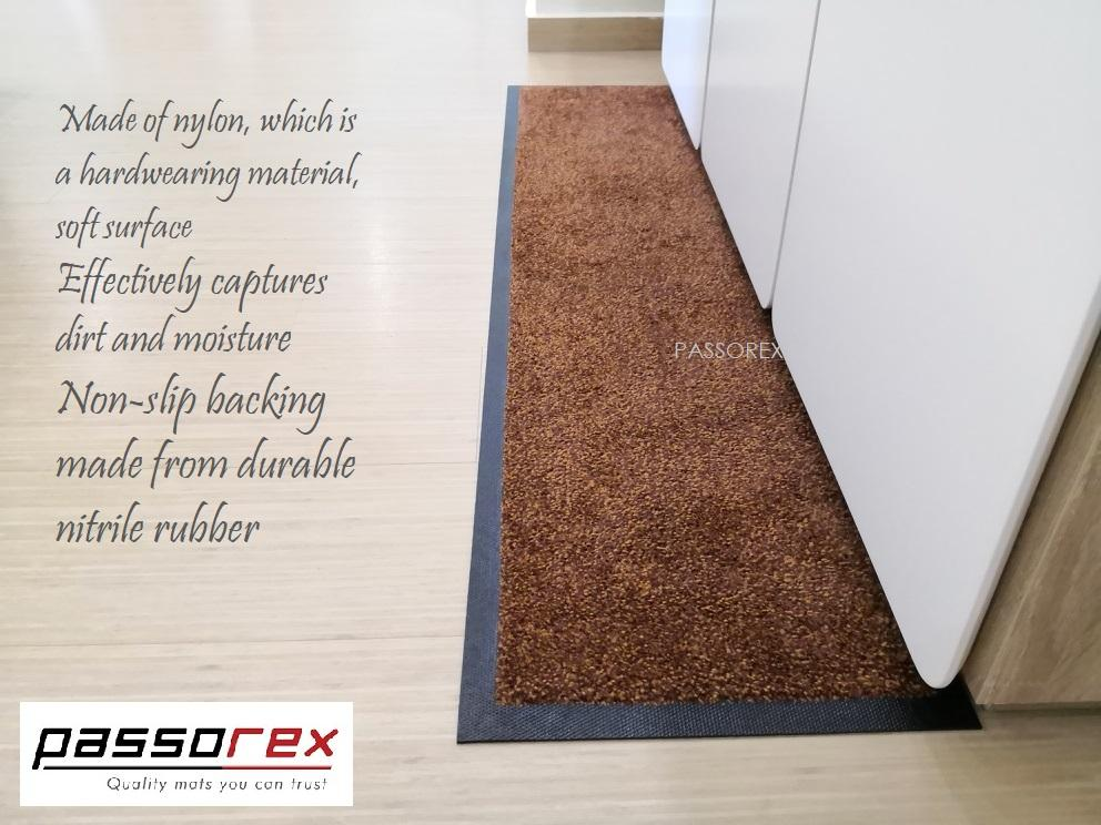 Passorex Comfort Nylon Nonslip Backing Floor Mat (Golden Brown) 125cm X 30cm