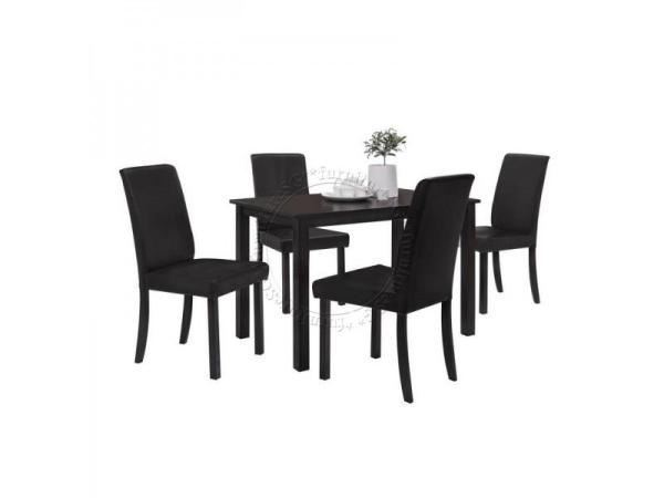 (FurnitureSG) Soild Wooden Dining Table + PVC Chairs