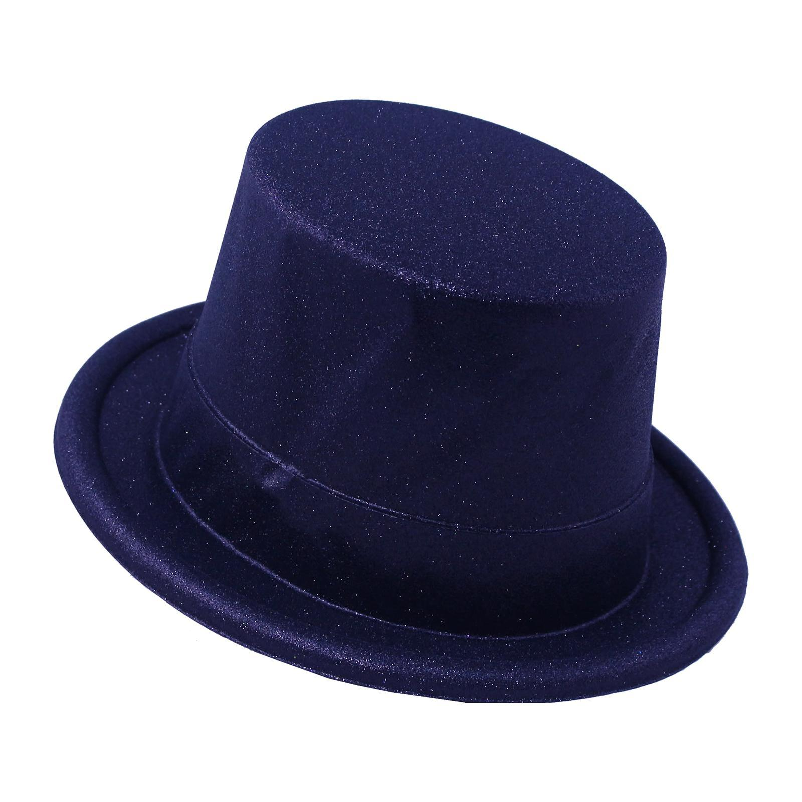 Partyforte Christmas Accessory Christmas Party Hat Top Hat Glitter Party Hat - Black Color 5 Pcs