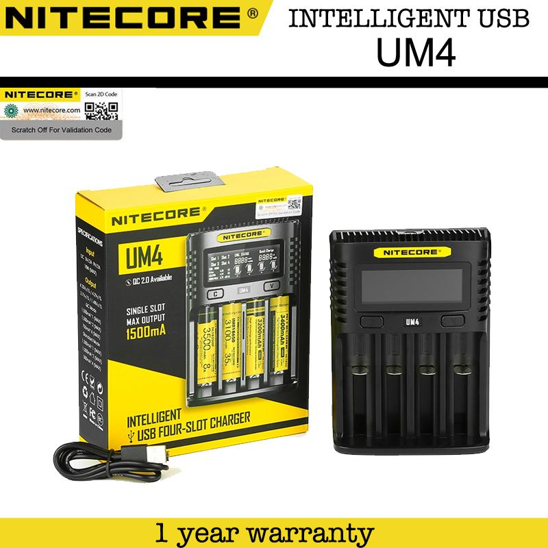 Nitecore UM4 Intelligent USB 4 Slot Quick Charge 2.0 Charger for AA, AAA, AAAA, C, D, IMR 18650, 22650, 26650