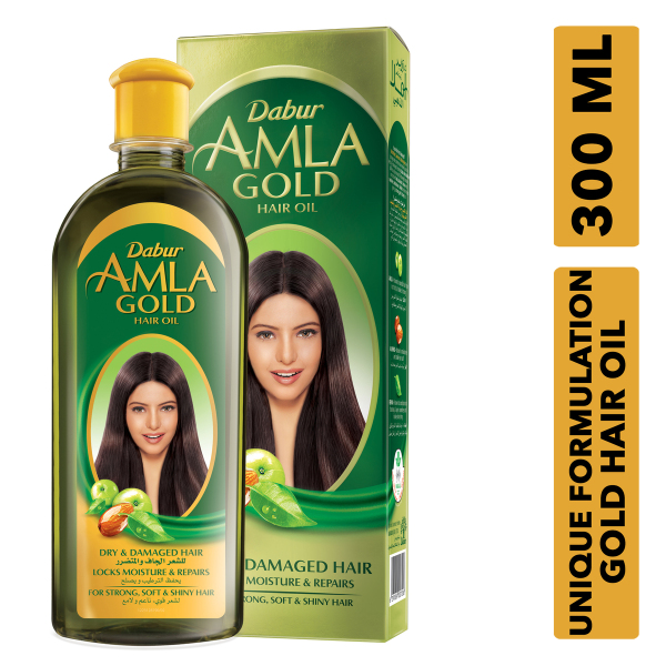 Buy Dabur Amla Gold Hair Oil, 300ml For Dry & Damaged Hair- Locks Moisture & Repairs Singapore
