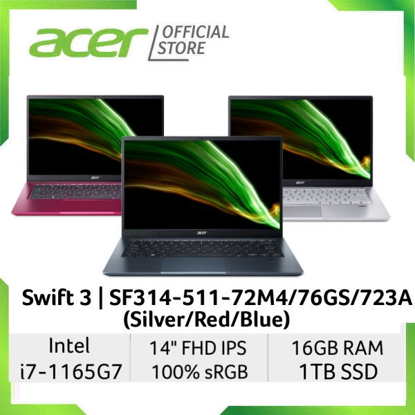 Acer Swift 3 SF314-511-72M4/76GS/723A(Silver/Red/Blue) 14 Inches FHD IPS 300 Nits 100% sRGB laptop with Intel i7-1165G7 processor and 16GB RAM