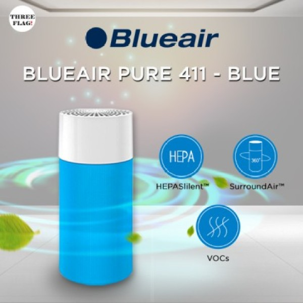 Blueair Blue Pure 411 Air Purifier with Particle and Carbon Filter for Allergen and Odor Reduction, Washable Pre-Filter Singapore