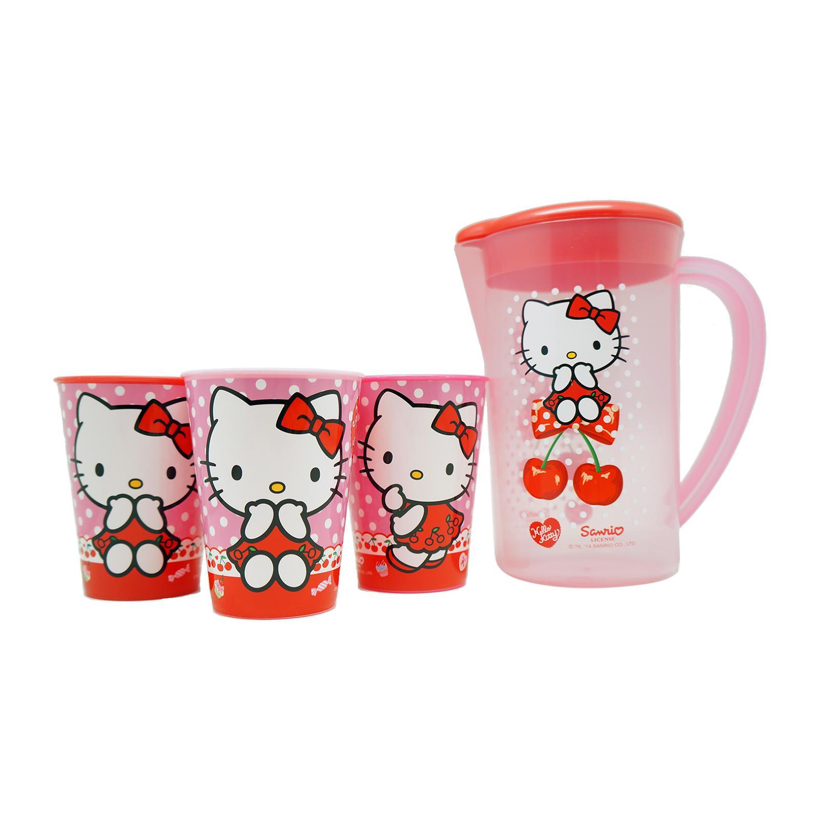 Sanrio Genuine Hello Kitty Pitcher And 3Pcs Tumblers