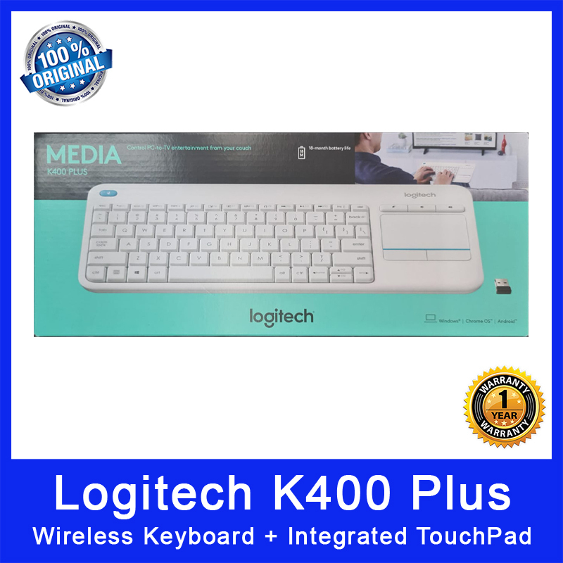 Logitech K400 Plus Wireless Keyboard + Intergrated TouchPad. Control PC to TV entertainment from your couch. Compact Size. USB Wireless. 18 Months Battery Life. Local SG Stock. 1 Year Warranty.. (In White) Singapore