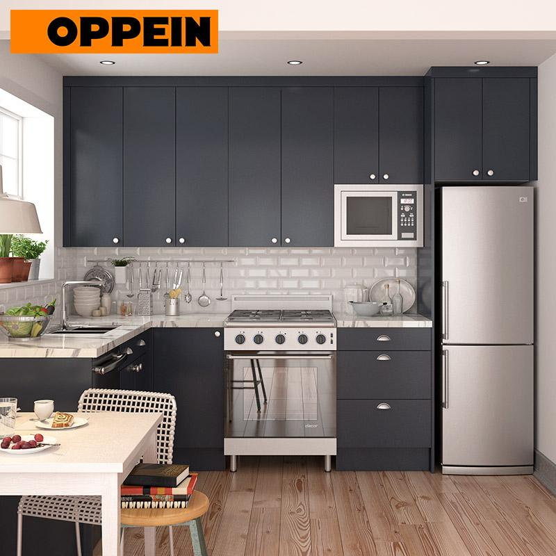 (Privileged Deposit) L-Shaped Navy Blue Small Kitchen Cabinets