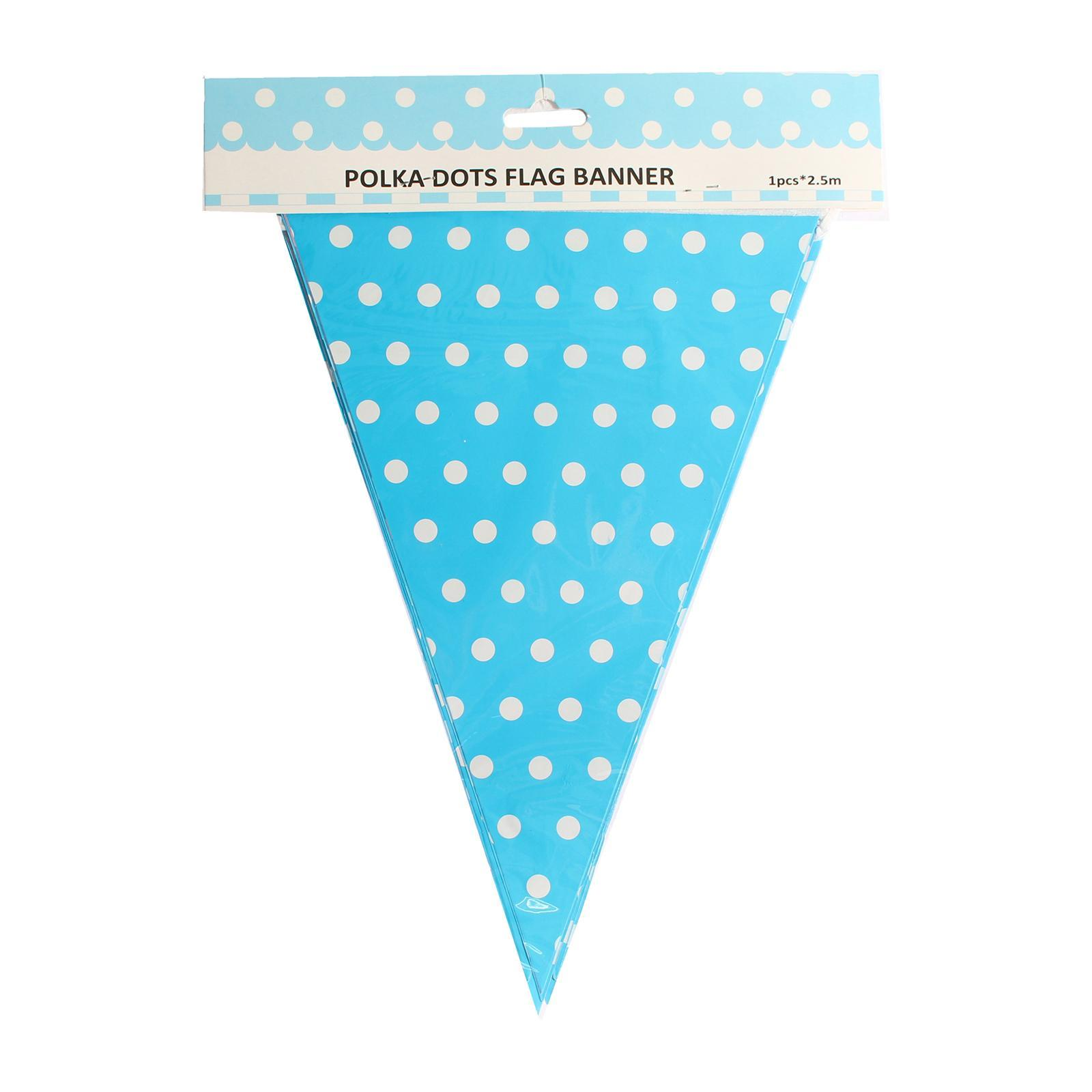 Partyforte 1S Blue Polka Dot Triangle Flag Banner