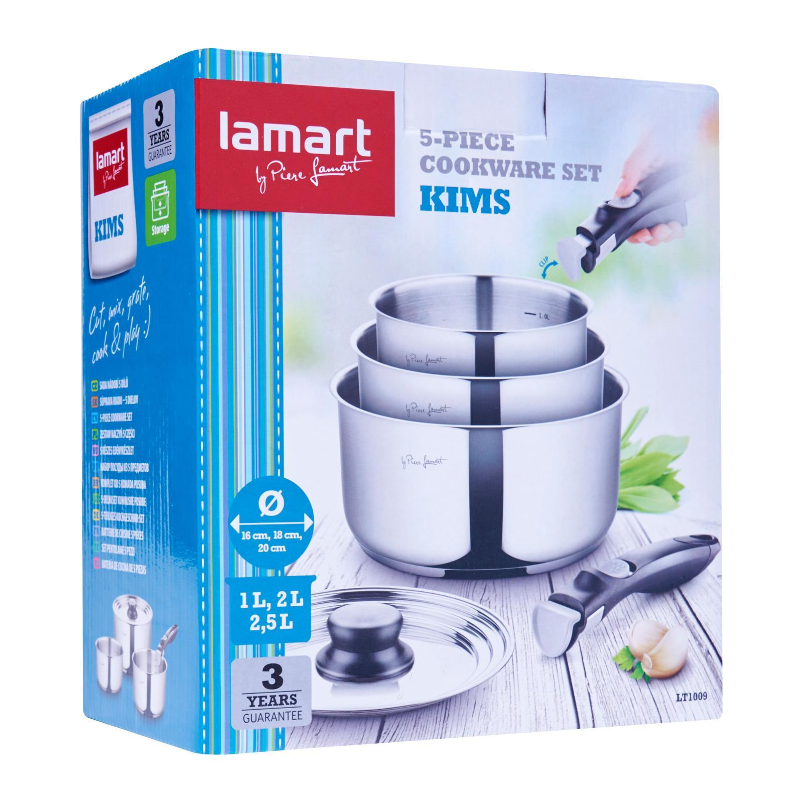 Lamart Stainless Steel Cookware Set 5Pcs - 3 Saucepans With Common Lid And Detachable Handle