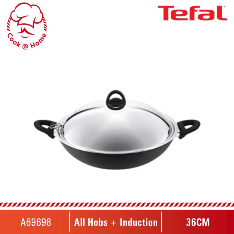 Tefal Novel Chinese Wok 36cm w/SS Lid (Induction-safe) A69698 Singapore