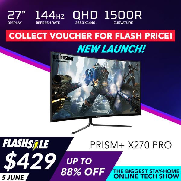 PRISM+ X270 PRO 27 144Hz 1500R Curved QHD Gaming Monitor [2560 x 1440] Freesync Ready