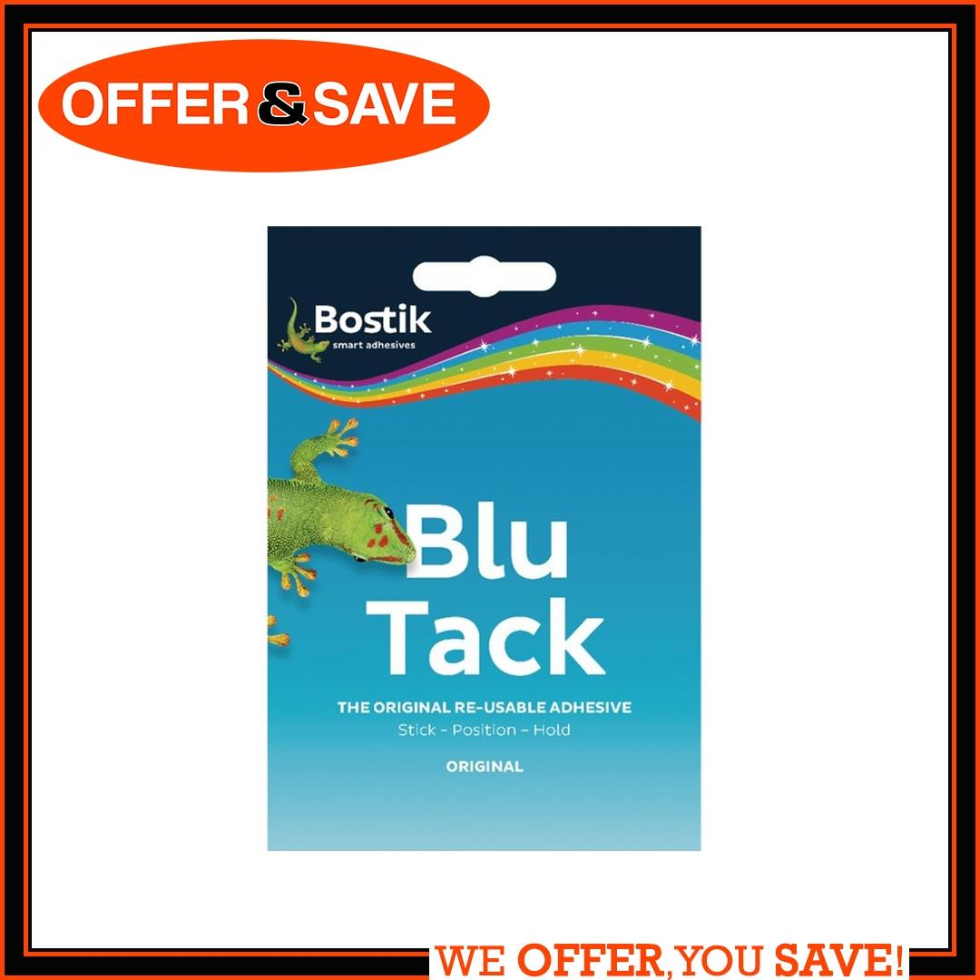 Bostik Blu Tack Blue / White The Original Reusable Adhesive - 45g By Offer & Save