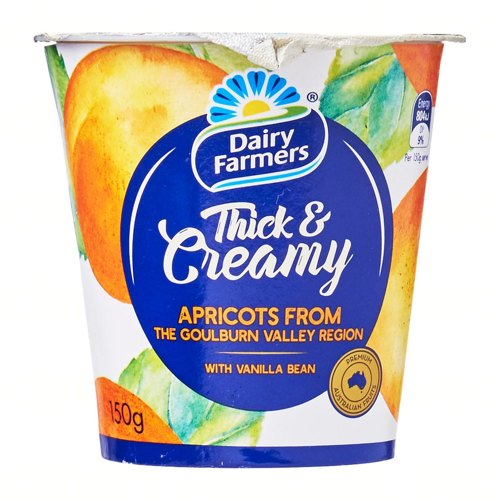 Dairy Farmers Thick and Creamy Apricot and Vanilla Yoghurt 150g