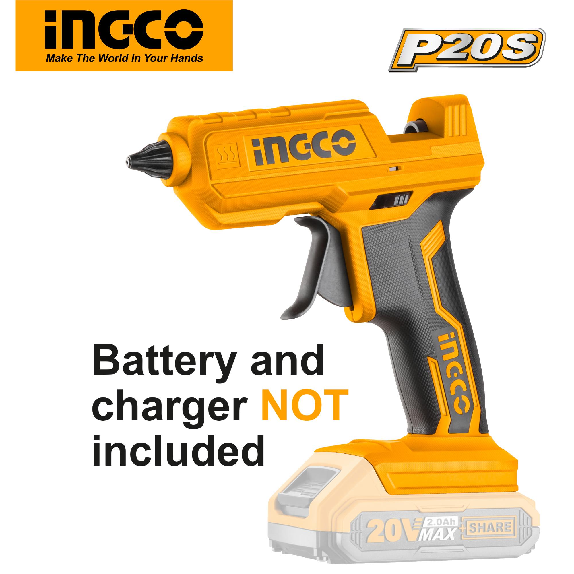 INGCO P20S Tools 20V Lithium-Ion Hot Glue Gun with 2 Glue Sticks CGGLI2001 (Body Only)
