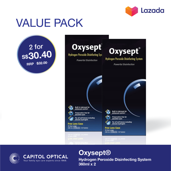 Buy Oxysept® Hydrogen Peroxide Disinfecting System 360ml x 2 Singapore
