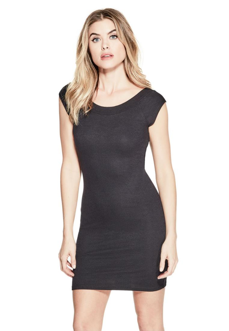 Guess Naomi Lace-Up Rib-Knit Bodycon Dress.