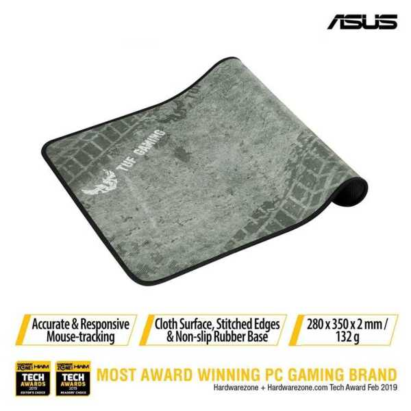 Asus TUF Gaming P3 durable mouse pad with cloth surface, stitched edges and non-slip rubber base.