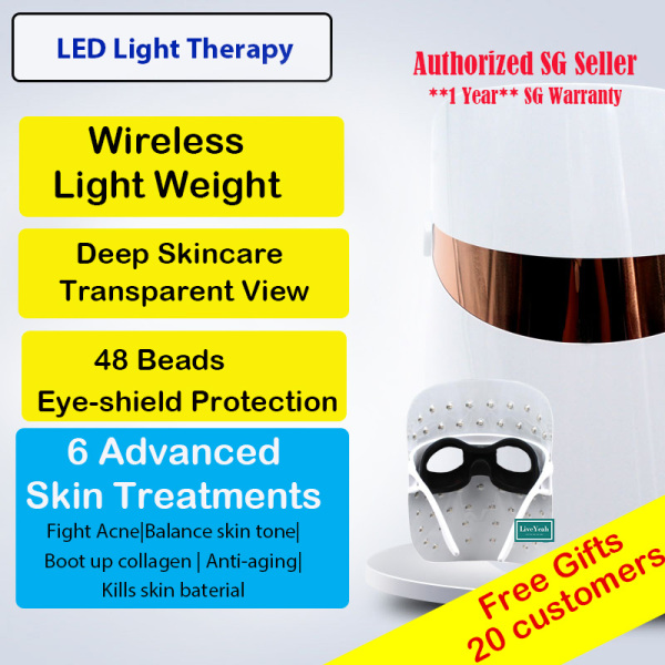 Buy (SG Warranty) LED facial beauty mask device Transparent spectacles USB / Powerbank Portable 3 Color light 6 Advanced skin treatment Device for Face Skin Rejuvenation,Tightening Anti Acne Ageing Wrinkle Removal Therapy Home Spa 48 beads Singapore