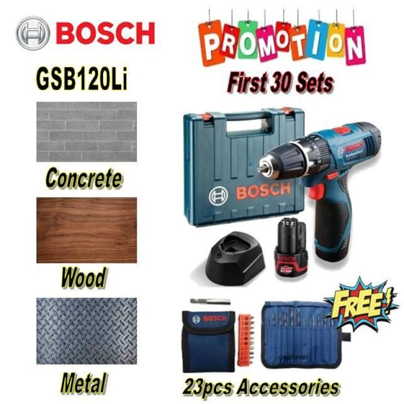 Bosch Cordless Impact Drill GSB 120-LI With FREE 23 PCS ACCESSORIES WHILE STOCK LAST / (comes with carrying case, 2pcs 12V battery & 1pc charger) 6 months warranty (HOME DRILL/ BTO DRILL)