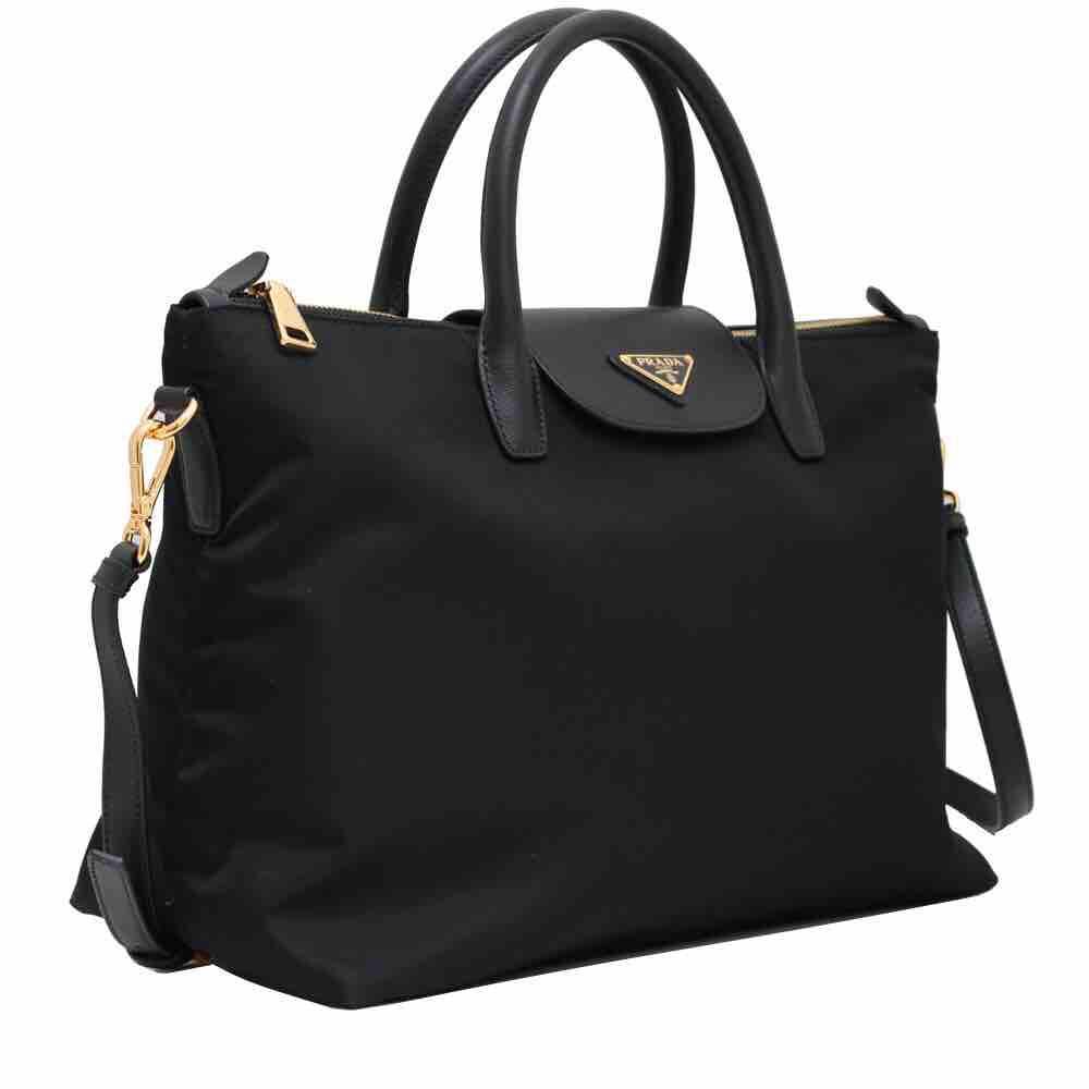 47b1189e1262 Prada BN2541 Tessuto Nylon Convertible Tote Bag- Blacko