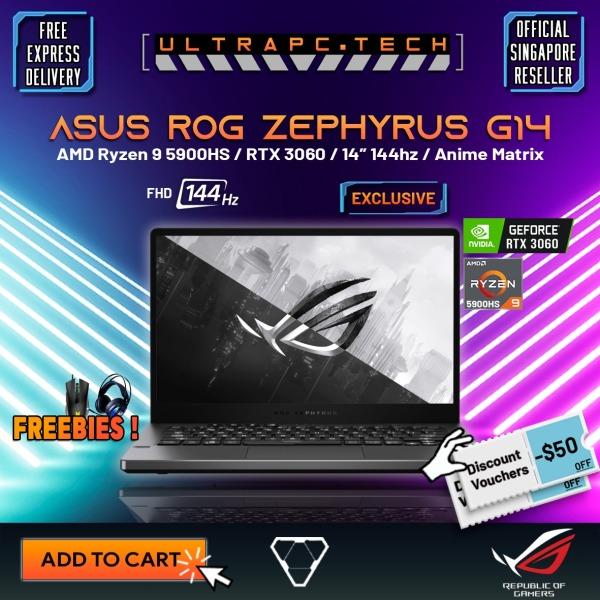[Free Delivery] ASUS ROG Zephyrus G14 2021 GA401QM-HZ203T Gaming Laptop (Ryzen 9 5900HS/16GB/512GB SSD/RTX 3060/14 FHD 144hz/W10/2Y)