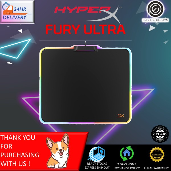 HyperX Fury Ultra – RGB Gaming Mouse Pad, Medium, 360° RGB Lighting, 20 RGB LED Zones, Low Friction Hard Surface, Anti-Slip Rubber Base