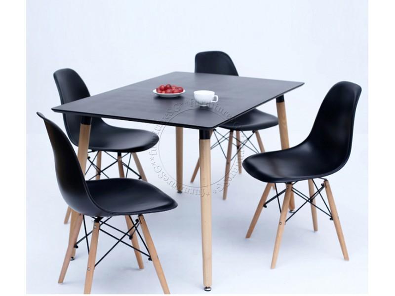 (FurnitureSG) 1+4 Eames Black Dining Set [Free Delivery and Installation]