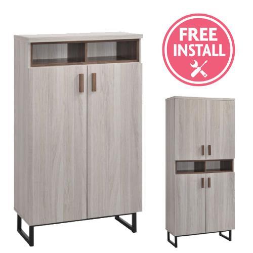 [Furniture Amart] 2 Door Modern Maple White Shoe Cabinet Rack Metal Legs