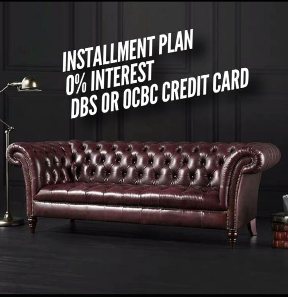 0% interest installment   chesterfield leather sofa