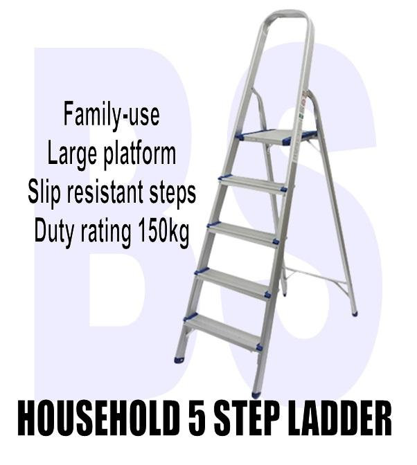 BANSOON 5 Steps household ladder / home ladder / family ladder / platform ladder / aluminium / maximum working load 150kg / slip resistant rubber base / office ladder / general purpose