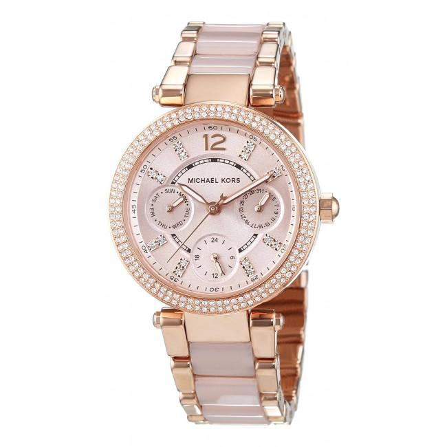 c0865144ce35 Michael Kors Mini Parker Rose Gold Pink Acetate Watch MK6110