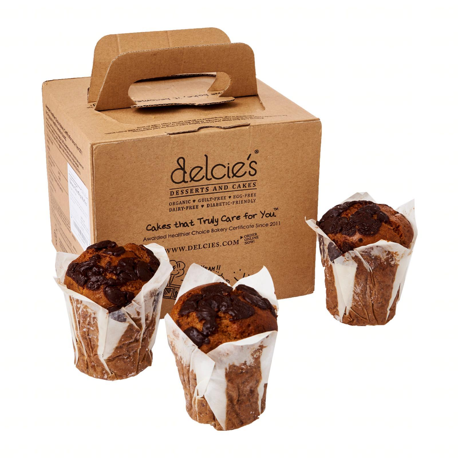 Delcie's Desserts and Cakes Vegan Gluten-Free Nut-Free Wholemeal Banana Chocolate Muffins - Frozen