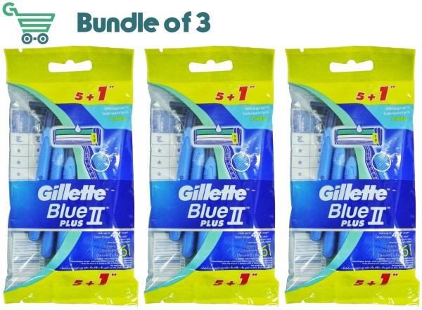 Buy Gillette Blue II Plus x3 Disposable Razor Shaver 6S Blue 2 5+1 Singapore