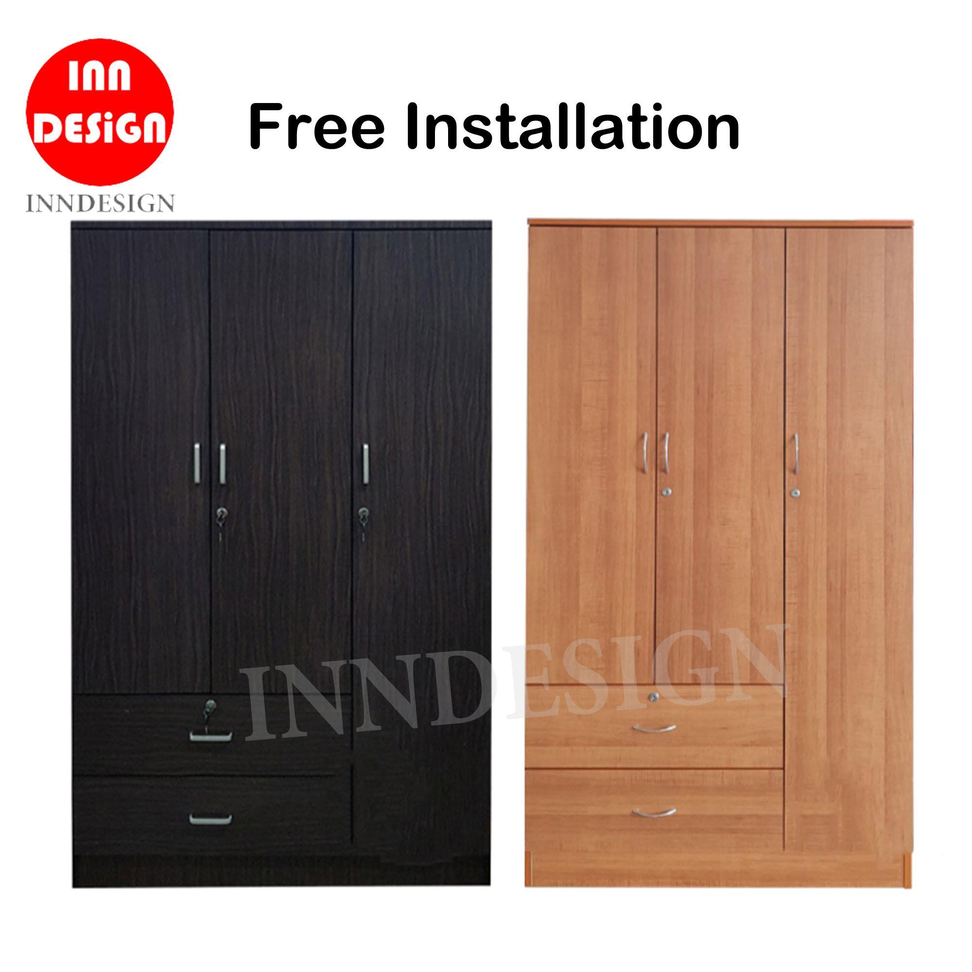 [NEXT DAY DELIVERY] Jordan III 3 Doors Wardrobe (Free Installation) / Standalone Wardrobe / Open Door Wardrobe