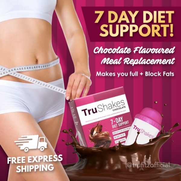 Buy Trushakes Chocolate Meal Replacement Flat Tummy in 7 days Beautyfyxed Singapore