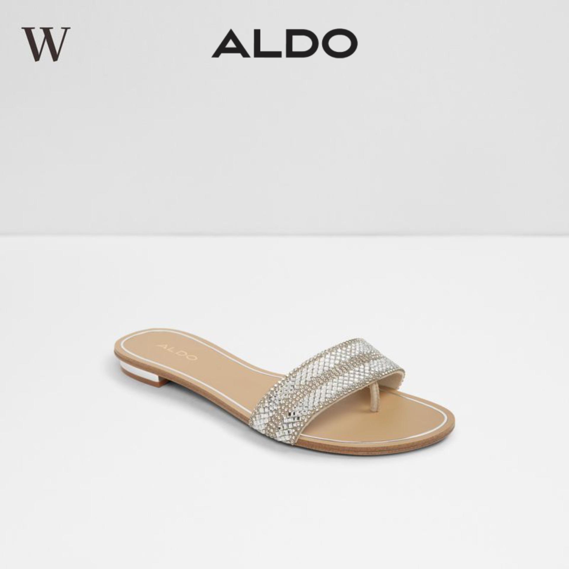 [sale] Aldo Cadilinnaw Woman Fashionable Slip On Short Block Heel Sandals Metallic Miscellaneous / Pewter.