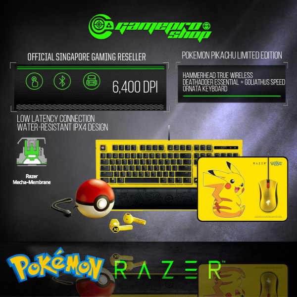 Razer Pokemon – Pikachu Limited Edition Full Set (Mouse + Mousemat + Keyboard + Earbuds) (2Y) Singapore