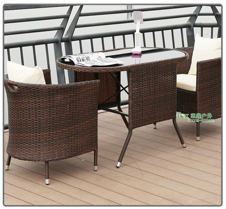 [Local Ready Stock] Rattan Weather Proof Outdoor / Indoor 3 Pcs Long Table & Chair Furniture Set [Balcony/Garden/Living Room]
