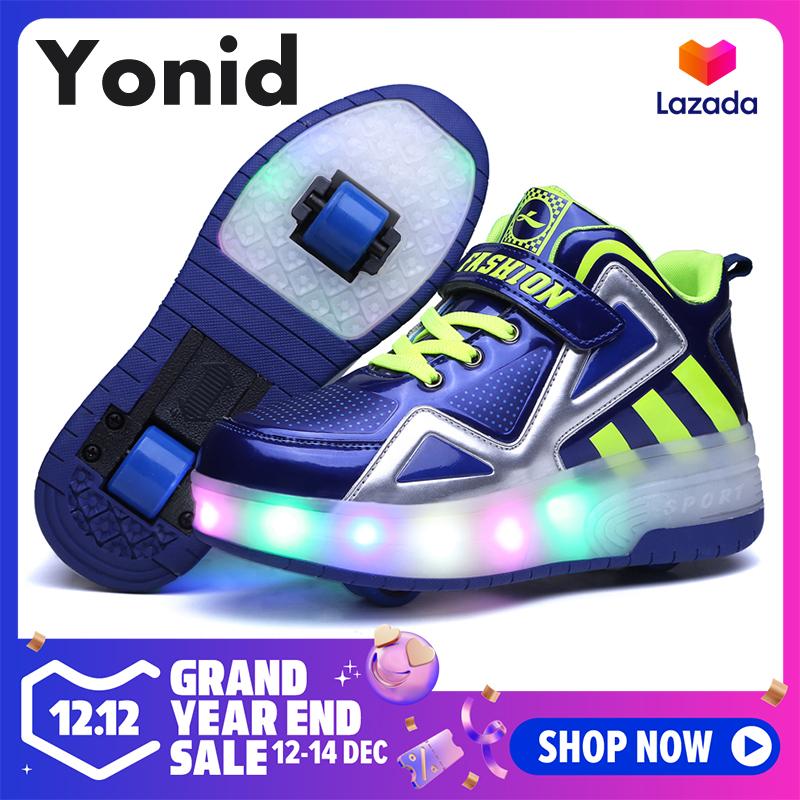 Yonid Size 30-42 Trẻ Em Giày Đèn Led Lên Bánh Đôi Giày Có Bánh Bé Trai Bé Gái Giày Heelys Đang Có Khuyến Mãi