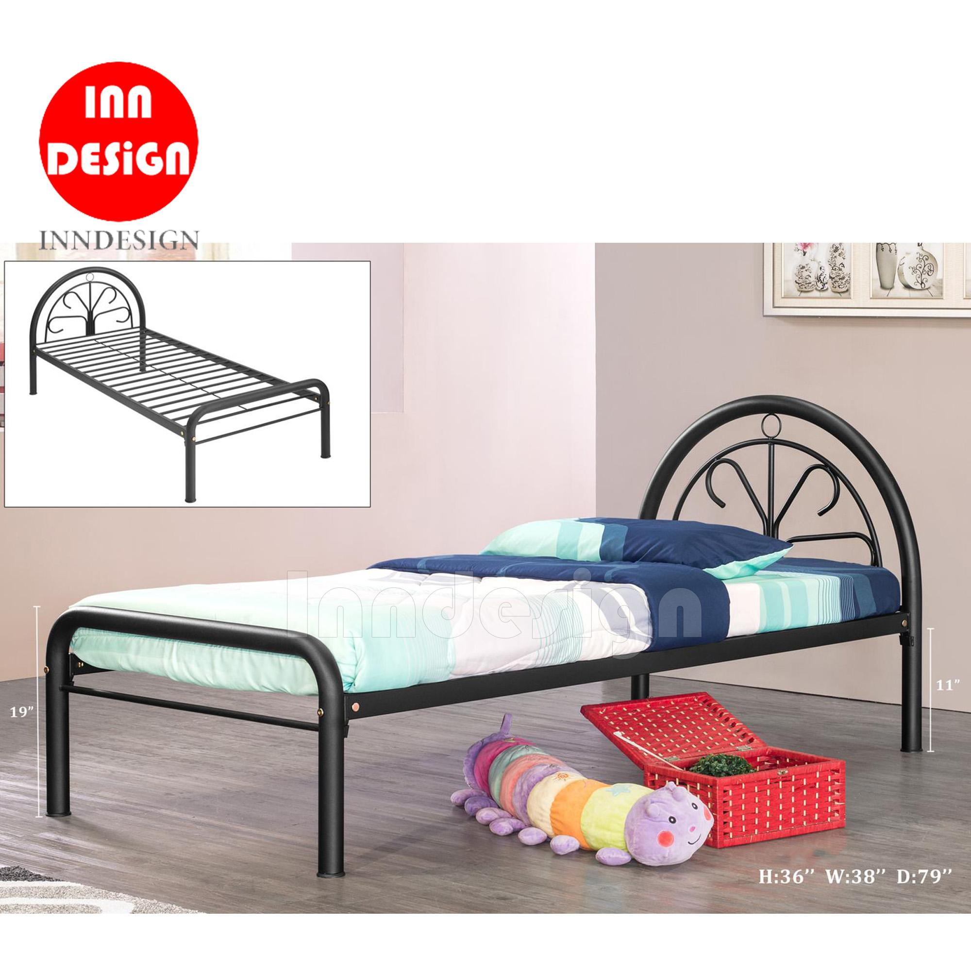 Single Single Metal Bed / Metal Bed Frame (Black)