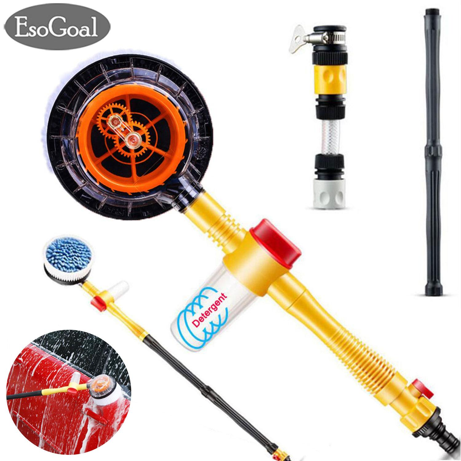 EsoGoal Sikat Mobil Self Rotating Car Bubble Wash Microfiber Brush Sponge Water Fast Cleaner High Pressure Car Wash Brush Car Cleaning Tool Automatic Rotate Switch Spray Water Flow Foam Garden Sprinkler